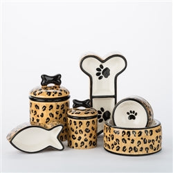 Leopard Ceramic Dog Bowls & Treat Jars