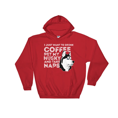 """Husky and Coffee"" Hooded Sweatshirt"
