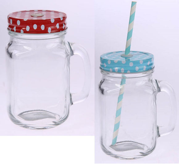 Glass Drinking Cup with Straw 450ML