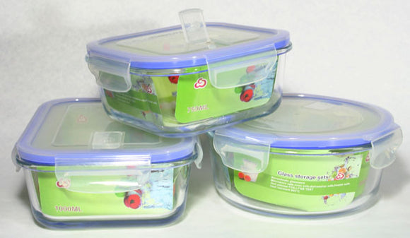 Borosilicate Glass Food Storage Container Snaplock Lid with Air Hole