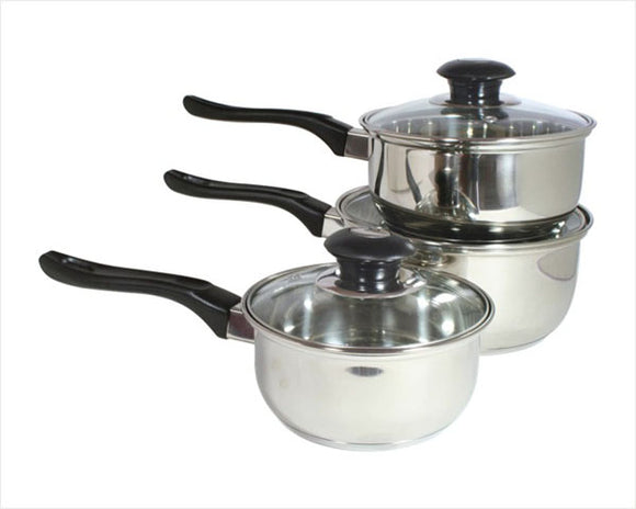Stainless Steel Sauce Pot Single Handle with Glass Cover 6 PCS/SET