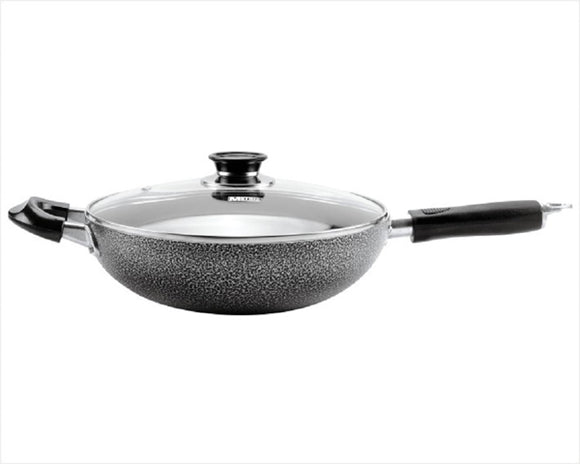 Non-stick Aluminum Wok Two Handles with Glass Cover 28 CM/11
