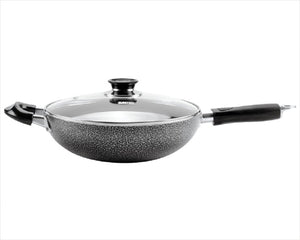 Non-stick Aluminum Wok Two Handles with Glass Cover 30 CM/11.8""