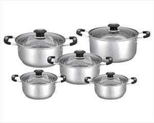 Stainless Steel Deep Sauce Pot with Glass Cover 10 PCS/SET