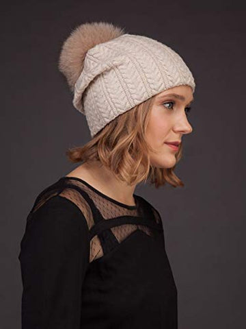 AVIMA Knit Pure Cashmere Beanie Hat for Women - Warm Slouchy Thick Comfy Super Soft