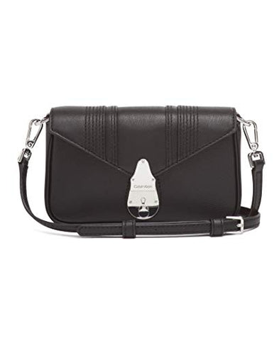 Calvin Klein Lock Linear Stitch Quilted Daytona Leather Statement Crossbody, Black Fringe