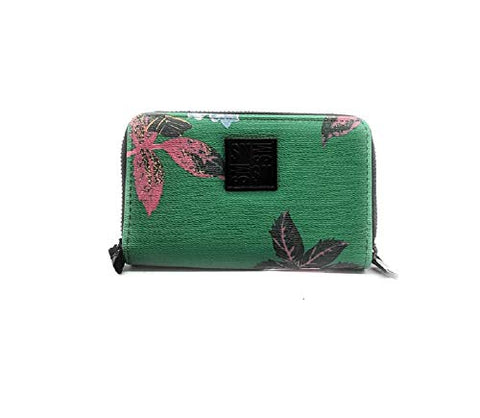 Steve Madden BGIRLY Double Zip Around Wallet/Wristlet, Green Floral, Small