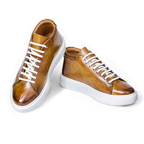 AVIMA Jackson Mens Luxury Fashion Sneaker - Handcrafted in Italy - for Xmas Gifts, Gift for Friends, Birthday Gifts - Medium Width - Cuoio