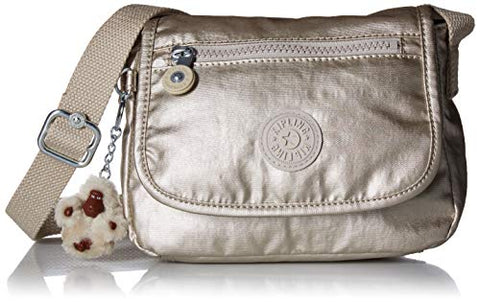 Kipling Women's Sabian Mini Bag, Adjustable Crossbody Strap, Magnetic Snap Closure, Cloud Grey/Metallic