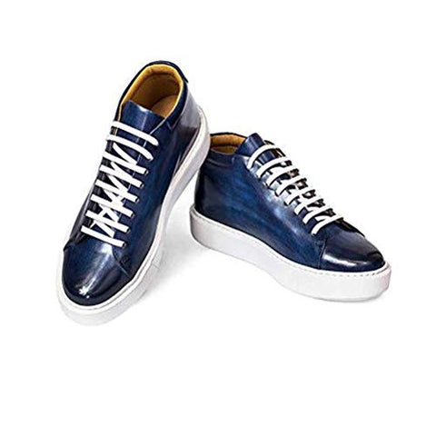 AVIMA Jackson Mens Luxury Fashion Sneaker - Handcrafted in Italy - for Xmas Gifts, Gift for Friends, Birthday Gifts - Medium Width - Blue