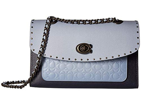 COACH Women's Signature Leather with Grain and Exotic Color Block Parker