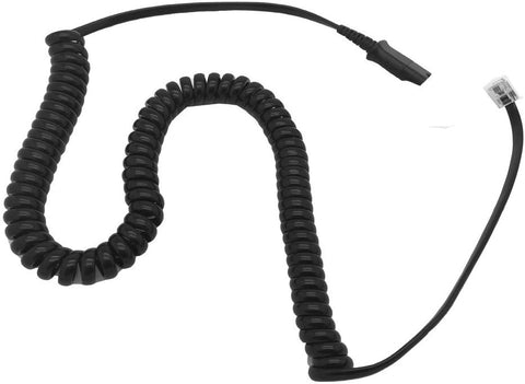 AvimaBasics Amplifier Coil Cord to QD Modular Plug | Stretchable, Durable, Quick Connect & Disconnect Grips & Ergonomic Cable | for H-Series Headsets, Cisco 7900 Series Phones - 26716-01