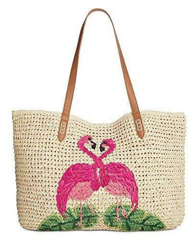 INC Tropical Straw Tote with Flamingos