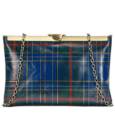 Patricia Nash Asher Frame Clutch Blue Green Tartan Plaid