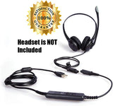 Premium Headset QD (Quick Disconnect) Connector to USB Adapter Cable w/Volume Adjuster, Mute for Speaker & Microphone Compatible with Any Plantronics and AvimaBasics QD Plug Headset