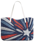 Unknown International Concepts Tropical Star Straw Tote Blue, Large