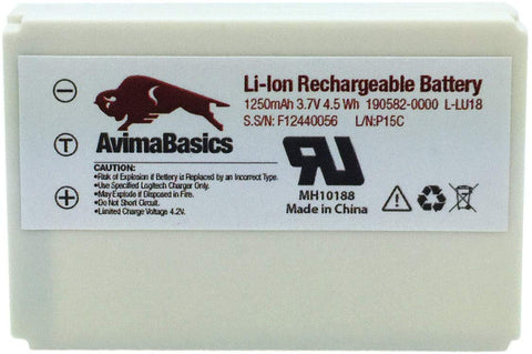1250mAh 3.7V Li-Ion Battery by AvimaBasics | Replacement Rechargeable Compatible with Logitech Harmony 915 1000 1100 1100i L-LU18 LU18 C-LR65 Squeezebox Duet Controller - Logitech Parts: 190582-0000