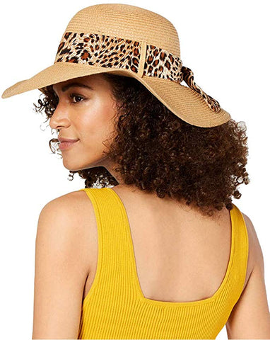 I.N.C. International Concepts Women's Leopard Printed Scarf Adjustable Band Floppy Hat