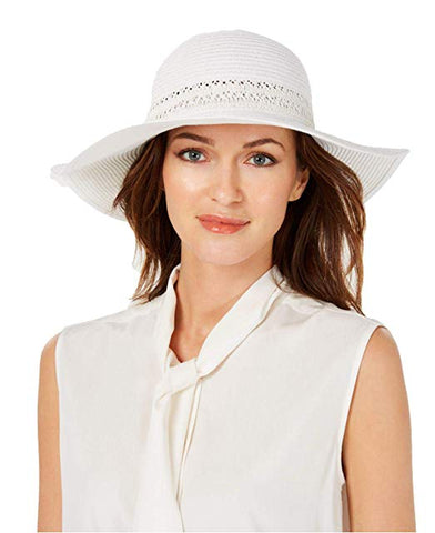 I.N.C. International Concepts Women's Lace-Insert Floppy Hat, White