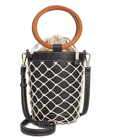 I.N.C. Fisherman Bucket Bag, Black/Gold