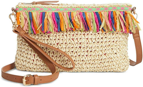 I.N.C. International Concepts Tropical Straw Crossbody, Natural/Multi