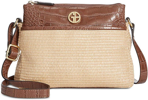 Giani Bernini Double Zip Straw Crocodile Crossbody, Tobacco Natural/Gold