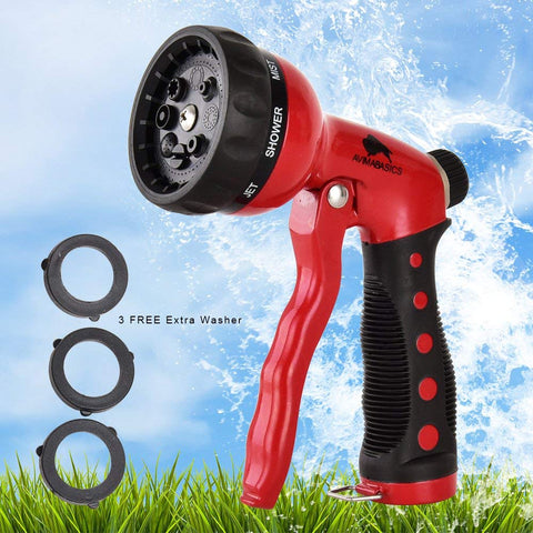AVIMABASICS Best Premium Durable Garden Hose Nozzle – Hand Sprayer Heavy Duty 8 Adjustable Pattern Metal Watering Gun – High Pressure - Perfect for Garden Plants Lawn Car Wash Washing Pets