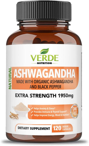 Ashwagandha – Anxiety Relief Vegan Natural Supplements – Adrenal Fatigue Support – Organic Certified Anti-Anxiety Vitamins with Ashwagandha Root – 120 Vegan Capsules