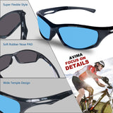 AvimaBasics  Unisex Polarized Tr90 Unbreakable Frame Sports Sunglasses for Running Baseball Cycling Fishing Volleyball Driving Skiing Golf Traveling (Black/Black With Blue Lens)