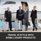 AVIMA Premium Luxury Executive Leather Luggage & Bag Tags 2 Pieces Set with Snap Closure