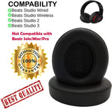 Premium Beats Studio Replacement Ear Pads Cushion by AvimaBasics - Compatible with Beats Studio 2.0 & 3 Wired/Wireless|Noise Isolation Memory Foam|Soft Protein Leather|Strong Adhesive Tape