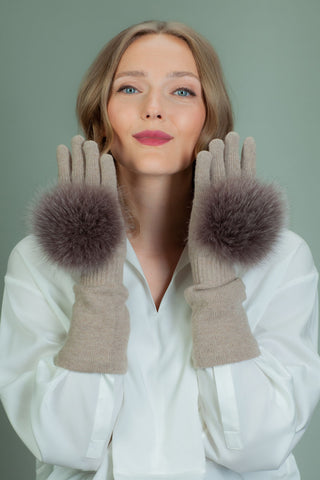 Long Beige Cashmere Gloves with Brown Fox Fur Decoration