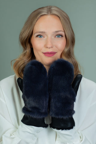 Dark Blue Sheepskin & Mink Fur Mittens for Women