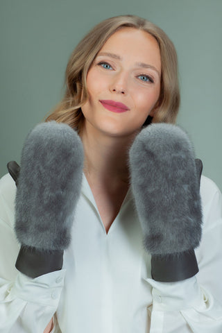 Dark Gray Sheepskin & Blue Iris Mink Fur Mittens for Women