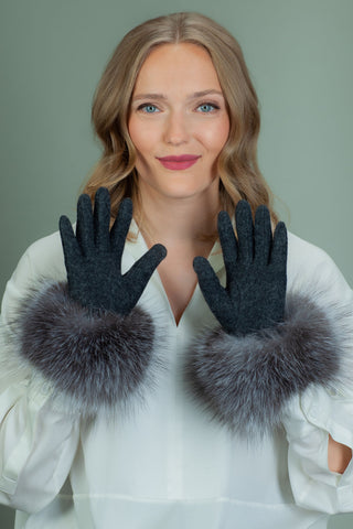 Gray Wool Gloves with Silver Fox Fur Wrist Cuffs