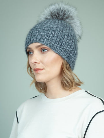 Handknit Gray Merino & Mohair Wool Hat with Detachable Fox Fur Pom-Pom
