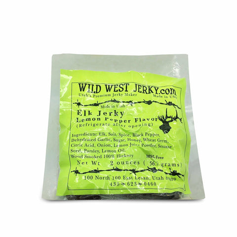Premium Delicious 100% Natural Elk Lemon Pepper 2 OZ. Wild West Jerky
