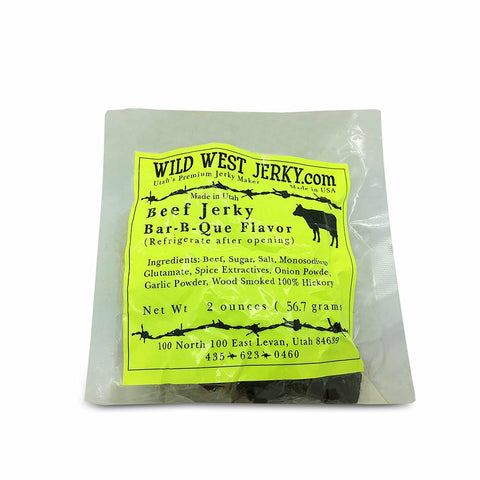 Premium Delicious 100% Natural Beef B-Bar-Que 2 OZ. Wild West Jerky