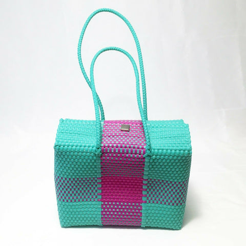 Artisan Mexican Handmade Woven Recycled Plastic Tote Basket Market Bag