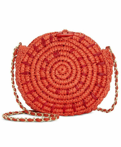 New Inc Straw Circle Crossbody - Flame/gold