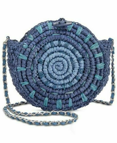 I.N.C. International Concepts Straw Circle Crossbody, Blue