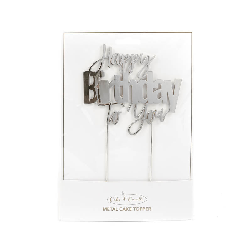 Cake Topper - Happy Birthday to You - Silver Plated