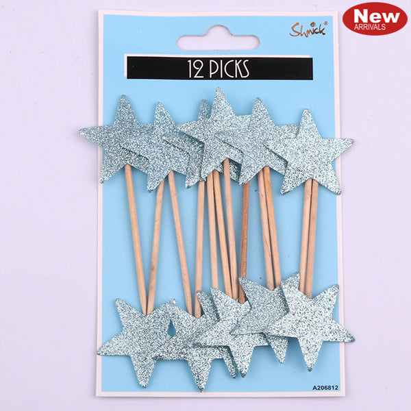 Blue - Luxe Star Cupcake Picks 12pk
