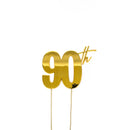 Cake Toppers - 90th - Gold Plated Metal