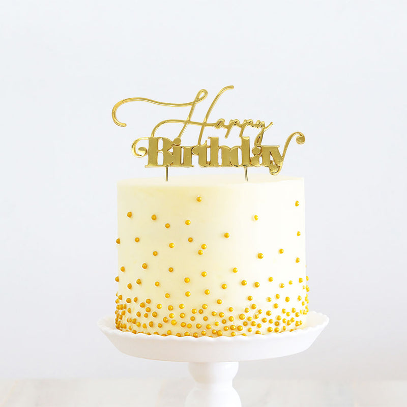 Cake Topper - Happy Birthday (V1) - Gold Plated