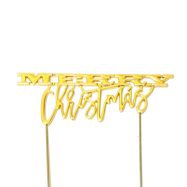 Cake Toppers - Merry Christmas - Gold Plated Metal