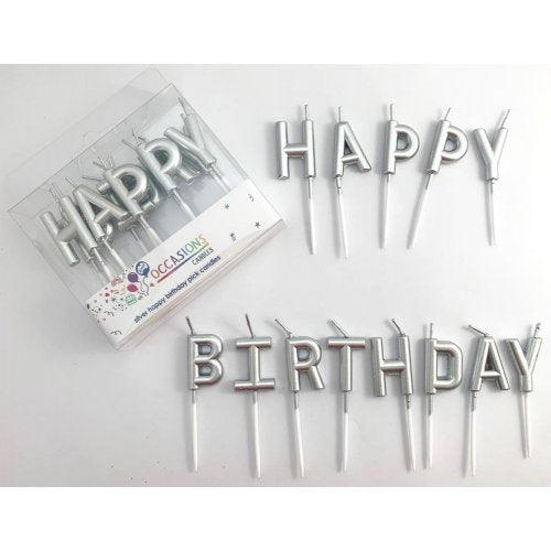 Silver HAPPY BIRTHDAY Pick Candles - Metallic