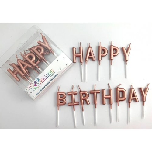 Rose Gold HAPPY BIRTHDAY Pick Candles - Metallic