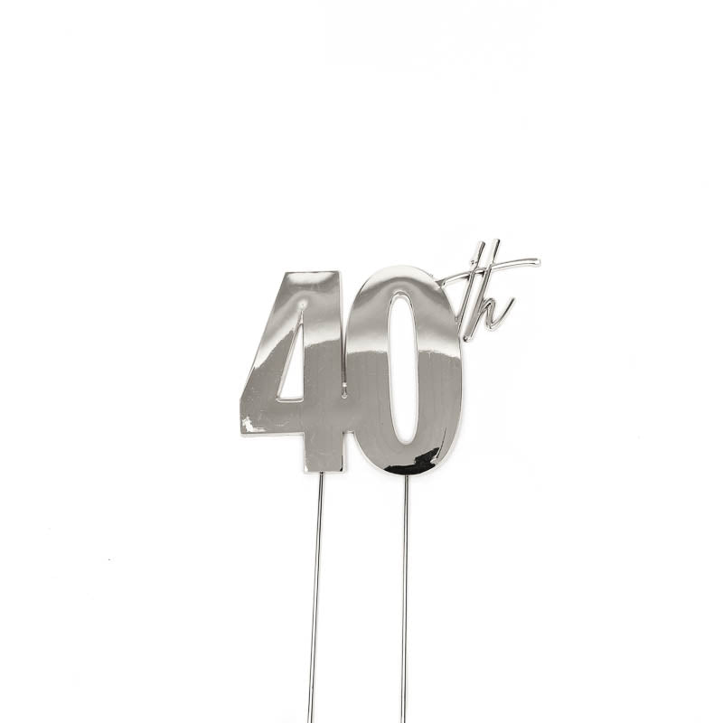 Cake Toppers - 40th - Silver Plated Metal