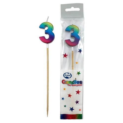#3 RAINBOW METALLIC LONG STICK CANDLE